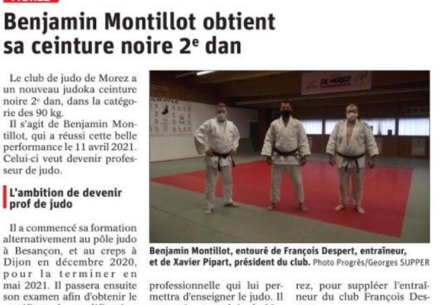 Benjamin MONTILLOT obtient sa ceinture noire 2ème Dan !